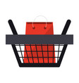 shopping basket with bag inside symbol vector image vector image