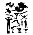 silhouette swimmer vector image
