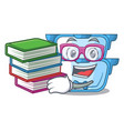 student with book cartoon double boiler for the vector image vector image