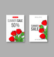 summer sale banners with paper cut red poppy vector image