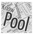 Things To Know About Swimming Pools Word Cloud vector image vector image