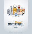 travel to portugal time to travel banner with vector image