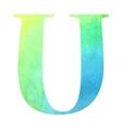 Watercolor blue-green colored alphabet vector image