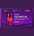 workflow business landing page vector image vector image