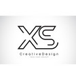 xs x s letter logo design in black colors vector image