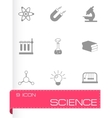 black science icons set vector image