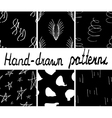 Set of ink hand drawn abstract seamless patterns vector image