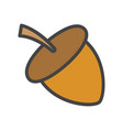 acorn cartoon flat icon vector image