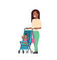 african mother baby son in stroller full length vector image vector image