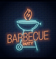 barbecue grill neon logo bbq with flame neon vector image vector image
