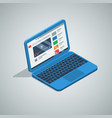 blue color netbook laptop isometric icon vector image vector image