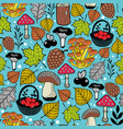 bright seamless pattern with autumn forest gifts vector image