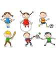 Cartoon little kids games collection vector image