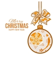 Christmas balls with orange ribbon and bows vector image vector image