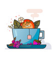 cup of tea with fruits and flowers art vector image vector image