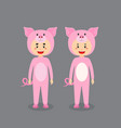 cute character wearing pig costume vector image vector image