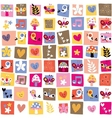 cute flowers birds hearts pattern 4 vector image vector image