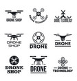 drone logo set simple style vector image vector image