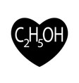 ethanol or alcohol ethyl is found in black heart vector image vector image