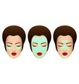 female faces with various beauty masks vector image vector image