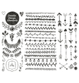 floral decor set collection hand drawn vector image vector image