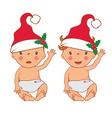 funny smiling little babies in santas hat