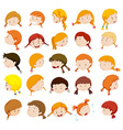 Girl head with facial expressions vector image vector image