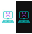green and purple line computer with keyboard and x vector image vector image