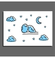Greeting card with a couple of sleeping birds and vector image vector image