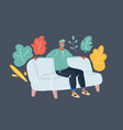 handsome man resting at home vector image vector image