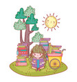 happy little girl reading books with cart in the vector image vector image