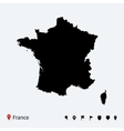 high detailed map of france with navigation pins vector image