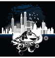 music background with dj and city vector image vector image