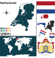 Netherlands map world vector image vector image