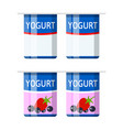 plastic container with yogurt vector image vector image