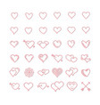set of pink line hearts vector image
