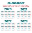 simple 2020-2023 years calendar vector image vector image