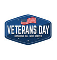 veterans day label emblem or sticker vector image