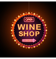 Wine shop neon sign vector image vector image