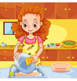 Woman cleaning dishes in the kitchen vector image