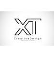 xt x t letter logo design in black colors vector image vector image