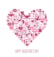 Valentines Day mosaic icons heart card vector image