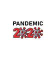 2020 coronavirus cells pandemic text banner vector image