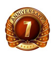 7 years anniversary golden label with ribbon vector image