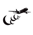 airplane with clouds silhouette on white vector image vector image