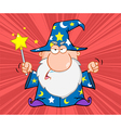 Angry Wizard With Magic Wand vector image vector image