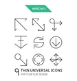 Arrow thin line icon set vector image