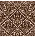 Brown and beige floral damask pattern vector image vector image