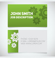 business card print template with gears logo vector image vector image