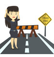business woman looking at road sign dead end vector image vector image